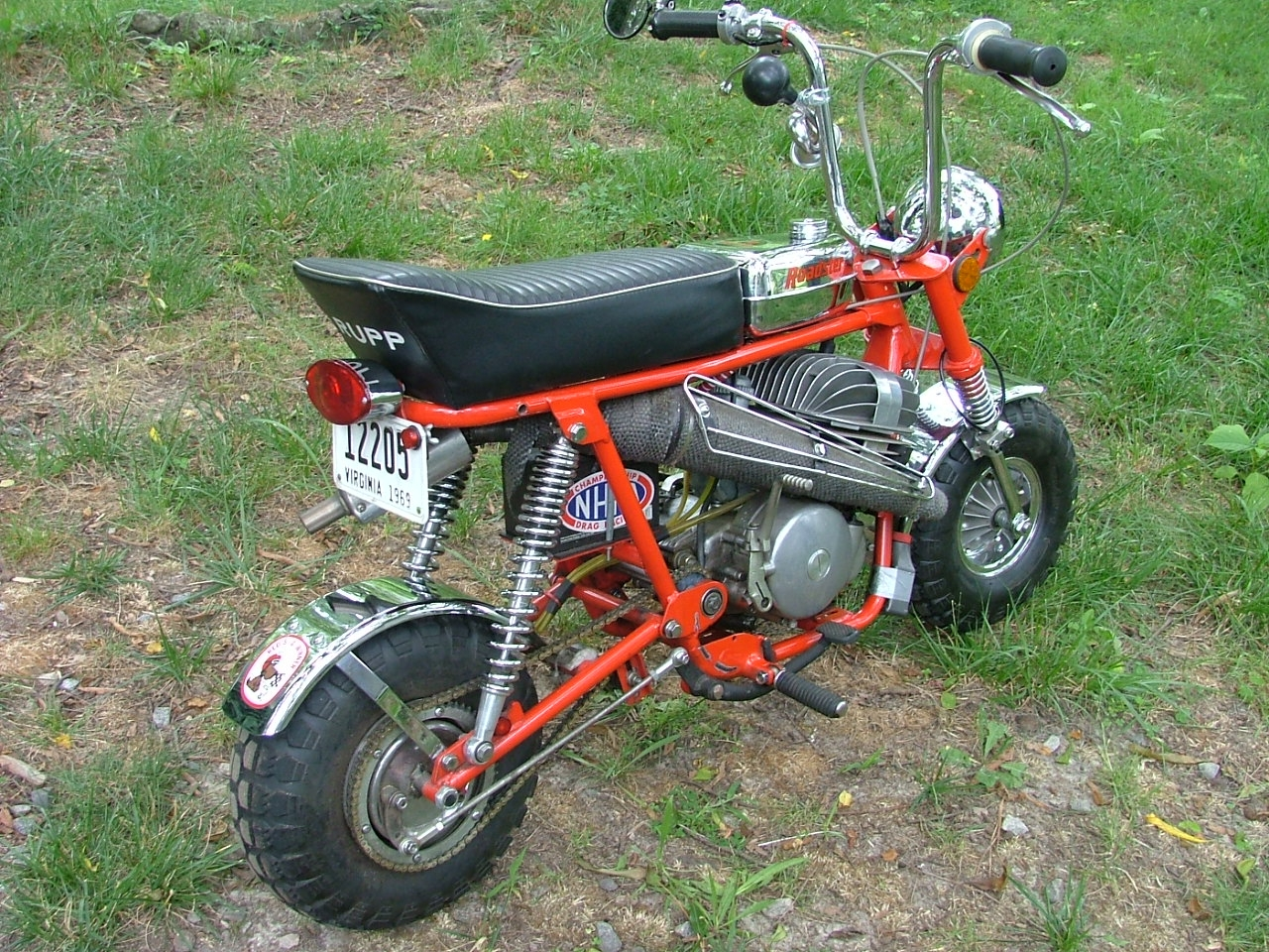 1980 CZ 125cc 6 speed. 30hp, Shoehorned into a 69 Roadster. Yes she flys. I run out of balls around 80mph.  Whew!